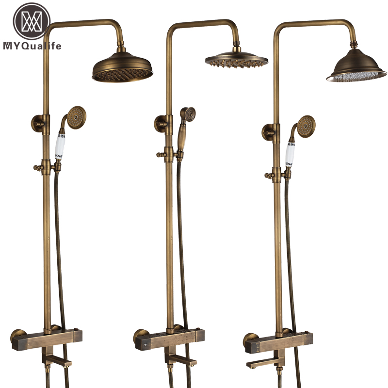 Brass Antique Thermostatic Bath Shower Faucet Set Dual Handle Tub Spout 8Rainfall Temperature Control Shower Water Taps china sanitary ware chrome wall mount thermostatic water tap water saver thermostatic shower faucet