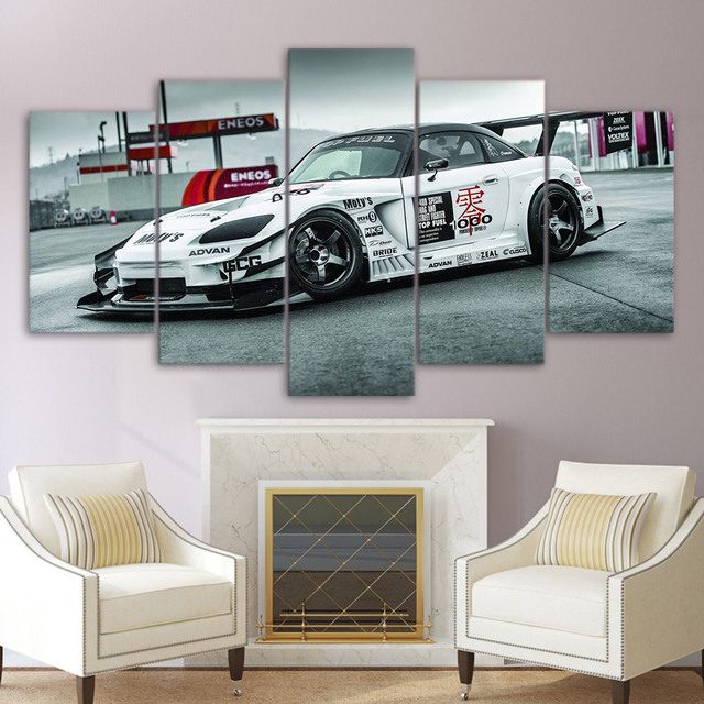 Cool Living Room Art Part - 41: Printed 5 Panel Cool Sport Car Picture Modular Painting Modern Wall Art For Living  Room Home