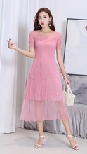 Summer Dress Original Design Simple and Fashionable Pure Color Super Elastic Womens Slim High-Quality Pleated
