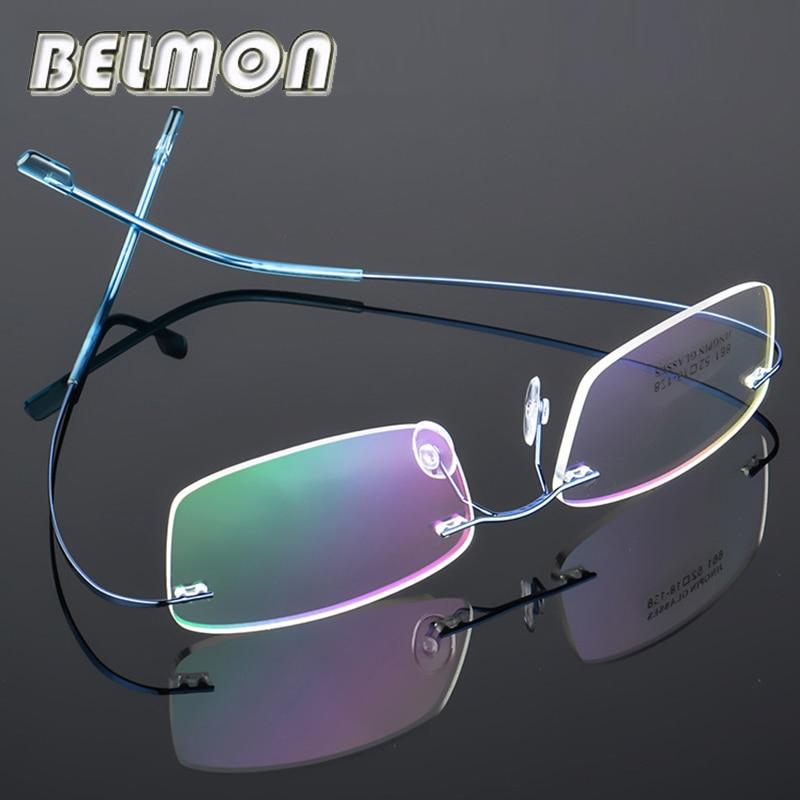 Spectacle Frame Rimless Ultra-light Eyeglasses Women Men Computer Optical Glasses For Male Female Transparent Clear Lens RS100