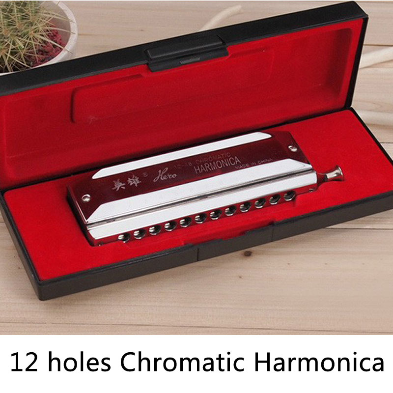 Hero Harmonica 12 Hole 48 Chromatic Harmonica Sliver Mouth Organ C Key Musical Instrument Wind Instrument Gift For Beginner easttop brass chromatic harmonica 16 hole brass abs comb musical instruments mouth organ chromatic slide harmonica good sound