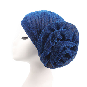 Image 4 - Women Hat Arab Indian Muslim Flower Hijab Headwrap Hat Headwear Islamic Turban Elastic Glitter Abaya Turban Inner Cap Bonnet New