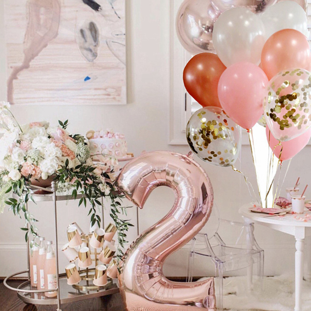 Happy Birthday Party Rose Gold Foil Balloon Confetti Latex