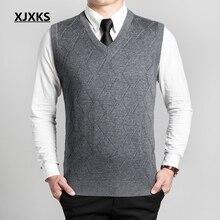 XJXKS осенний и зимний кашемировый мужской жилет с v-образным вырезом без рукавов свитер Хеджирование мужские повседневные трикотажные пуловеры Pull Homme