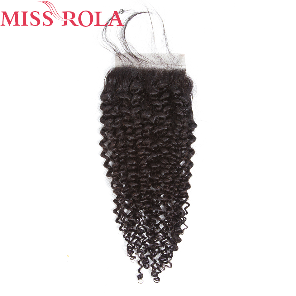 Miss Rola Brazilian Kinky Curly Lace Closure with Baby Hair 4*4 Non Remy Human Hair Closure Hand Tied 130% Density Free Shipping