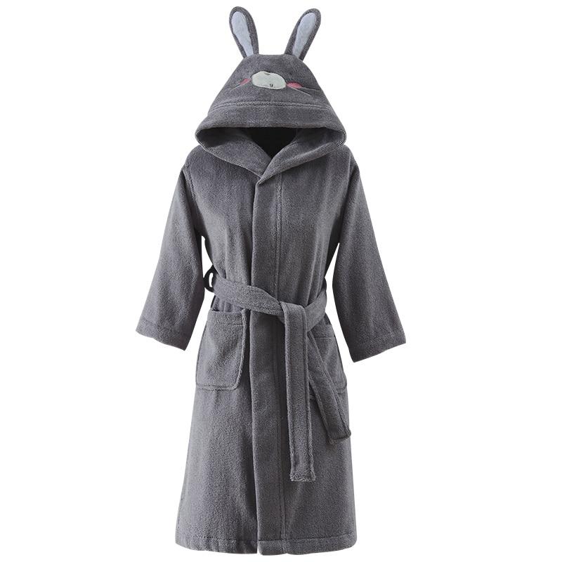 Bathrobe Kids Boys Robe For Children 100% Cotton Warm Lengthen Robe Thicken Hooded Dressing Gown Men Towel Fleece Pajamas