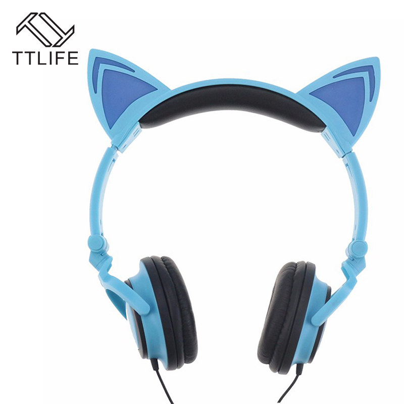 TTLIFE Foldable Flashing Glowing cat ear Headphones Gaming Headset Earphone with LED light For PC Laptop