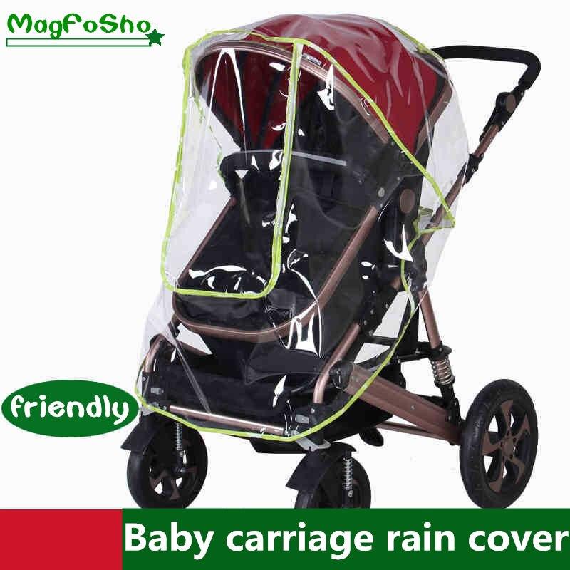 Waterdichte regenhoes voor kinderwagen accessoires Transparante Winddicht regenjas voor baby winkelwagen Rits opent Kinderwagens 2