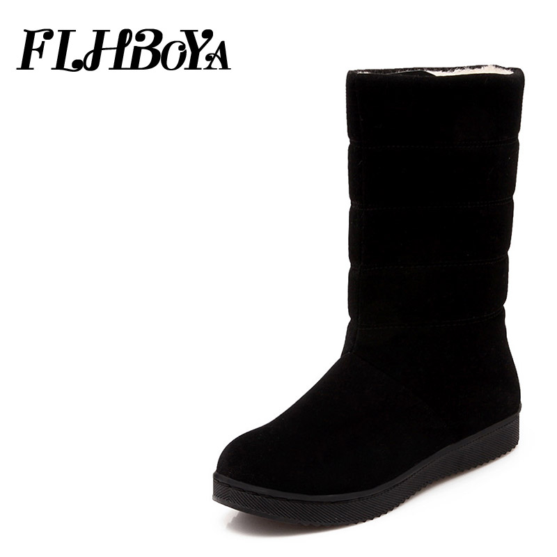 2018 New Women Winter flat Heel Mid-calf Snow Boots Winter Warm Plush Shoes Black Red Round Toe Frosted Ladies Platform Boots ekoak new 2017 winter boots fashion women boots warm plush mid calf boots ladies platform shoes woman rubber leather snow boots
