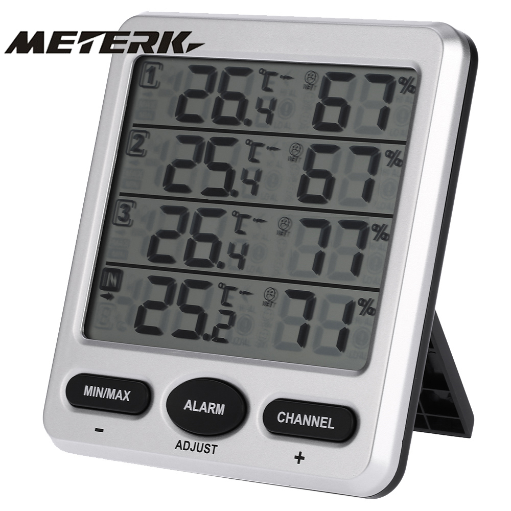 LCD Thermometer Weather Station Wireless 8 Channel Indoor Outdoor Thermo hygrometer with Three Remote Sensors Alarm