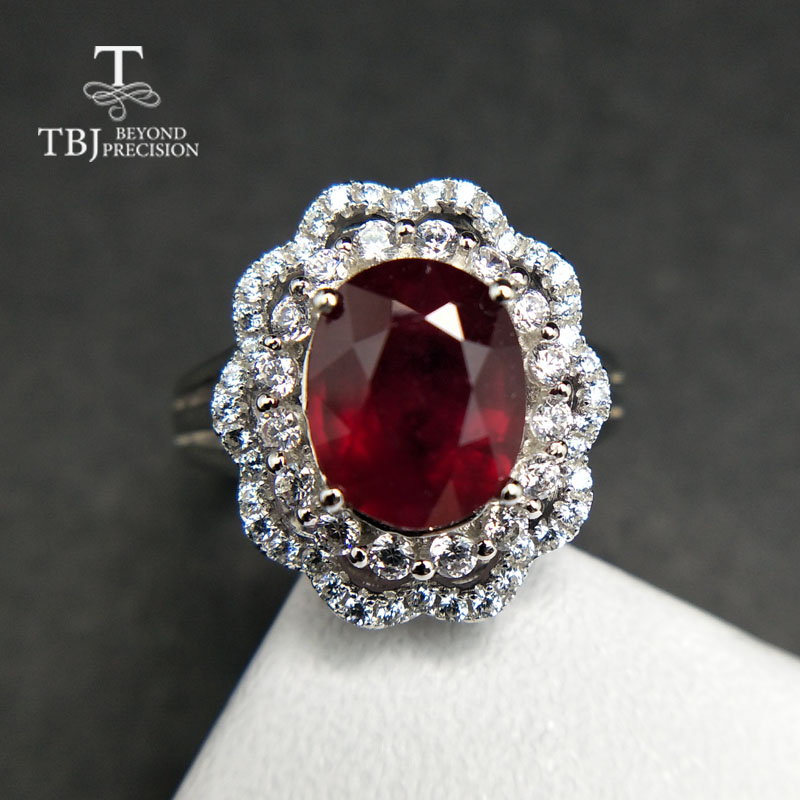 TBJ,Popular Genuine Shiny Ring with Ruby in 925 sterling silver gemstone jewelr for women & girls as a wedding valentines gift