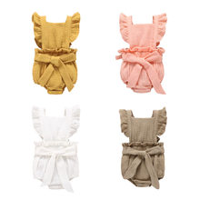 Summer newborn bodysuits toddler baby girl summer clothes solid cotton cute rompers first birthday outfit girl outfits 6-24M(China)