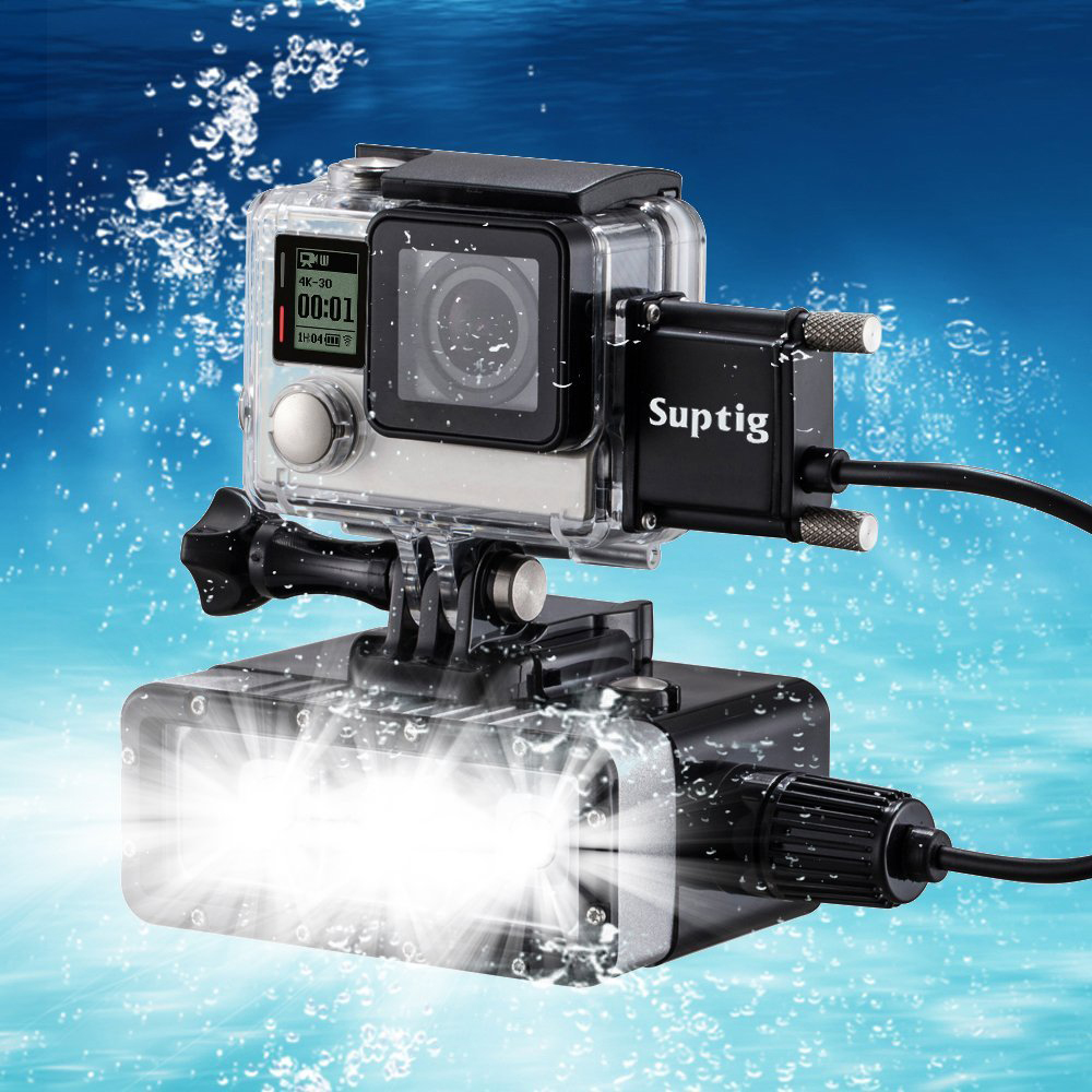 Suptig Underwater Diving LED Light Flashlight Lamp W/ Build-in 5200mAh Power Bank+Side Open Waterproof Case For GoPro Hero 4 3+ pannovo waterproof pu leather extra thick anti shock eva case for gopro hero 4 3 3 2 sj4000