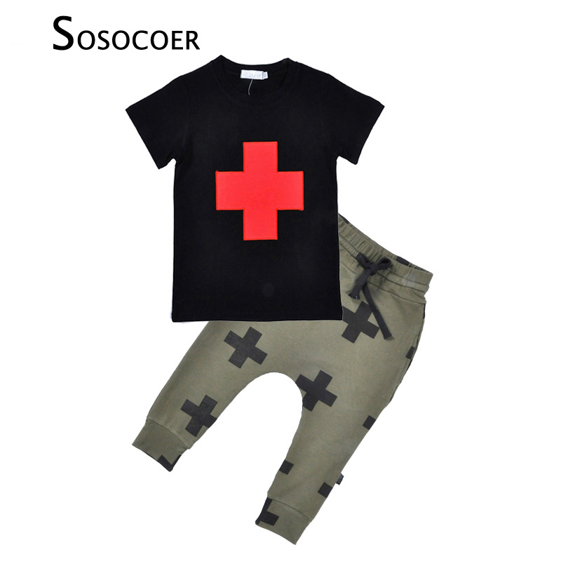 SOSOCOER 2017 Summer Kids Clothing Sets Cartoon Cross Pattern Short Sleeve T-shirt+Pants 2pcs Boys Casual Suits Children Clothes 3 8t moana maui boys sets 2017 summer kids t shirt pants sport suits 2pc short sleeve children boys clothings sets suits cs206