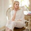 Pijamas Princesa das mulheres Primavera Sleepwear Feminino E Outono 100% Algodão Conjuntos de Pijama Plus Size Lace Half-Luva Salão