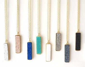 Vertical Bar Retangular Resin Druzy Pendants Necklaces Pendants for Women