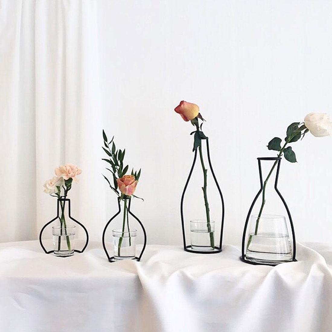Zerama Abstract Black Lines Minimalist Iron Vase Dried Flower Tabletop Pots Shelf Home Office Decoration