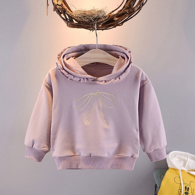 18fd9ebc7 2019 spring Autumn Children Baby Babi Kids girls Long Sleeve cute sweet Bow embroidery  Hooded Sweatshirts Outwear Coats C1816