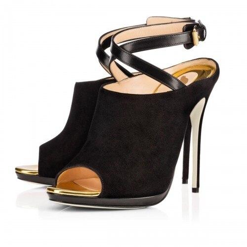 Black Suede Peep Toe Cross Strap Open Heels High Heel Stilettos Shoes Women Pumps Shoes Nude Bottom Shoes For Women Pumps