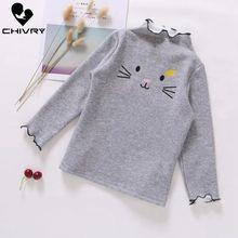 Chivry Autumn 2019 New Little Girls Long Sleeve O-Neck Casual T-Shirt Baby Kids Cartoon Rabbit Print T-shirts Clothing