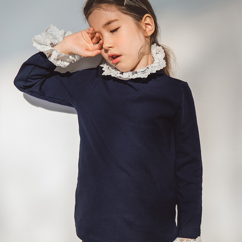 school lace patchwork school sweatshirt girl princess autumn winter long sleeve toddler kids sweatshirt girls 2018 new clothing цены