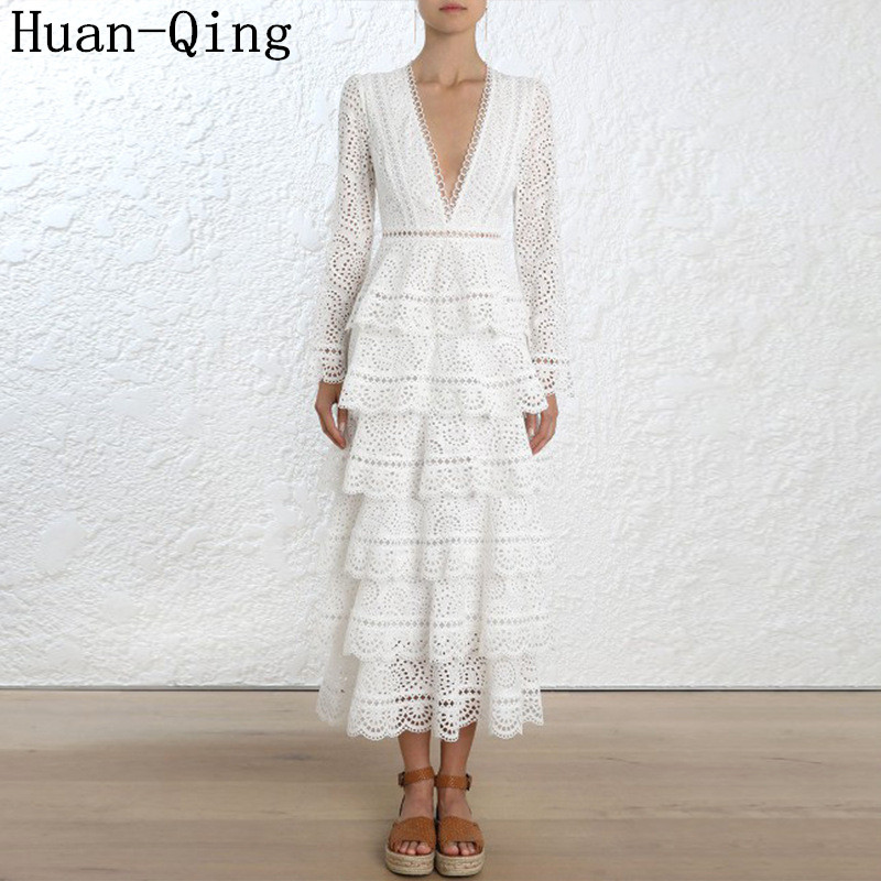 New Autumn Runway Women White Lace Embroidery Cake Layered Dress Sexy Deep V Neck Hollow Out