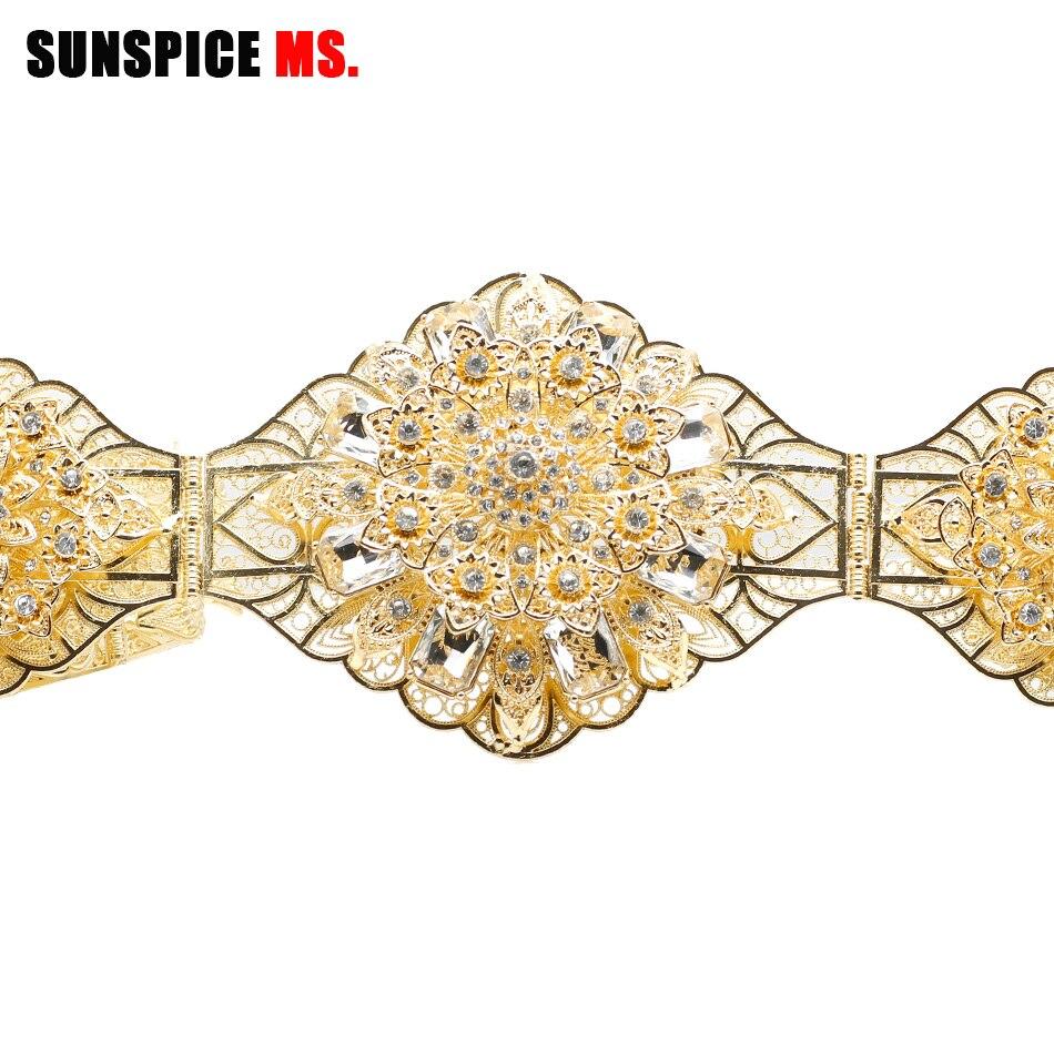 SUNSPICE MS Rhinestones Wedding Belt Sash Gold Color Diamond Crystal Bridal Belt For Wedding Gown Decoration