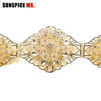 SUNSPICE-MS Rhinestones Wedding Belt Sash Gold Color Diamond Crystal Bridal Belt For Wedding Gown Decoration Adjustable Length