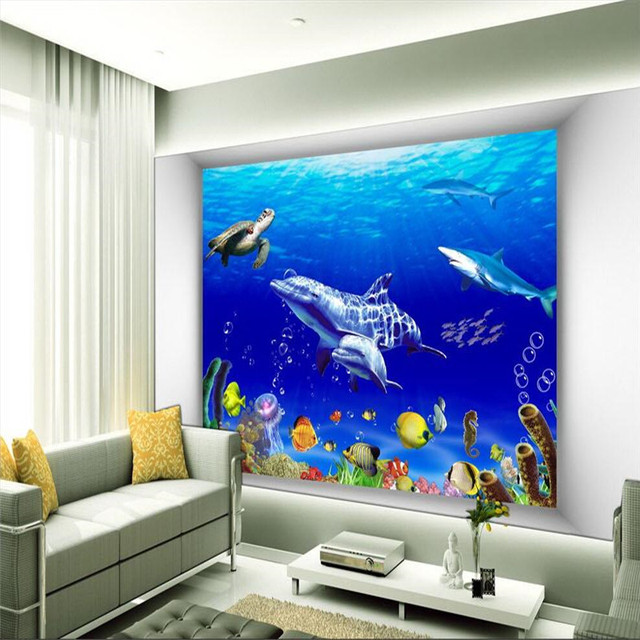 3d wallpaper mural art decor picture backdrop underwater world dolphin hotel turtles sharks restaurant painting mural - Underwater World Restaurant