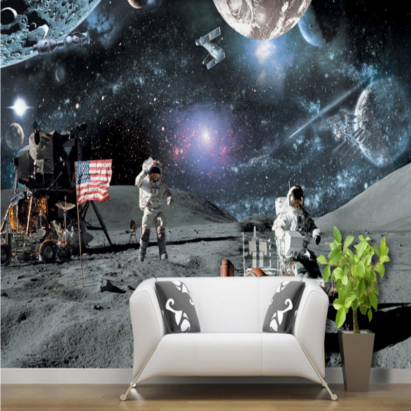 wallpaper 3d Custom living room bedroom mural moon lunar calendar lunar rover galaxy science aerospace background wallpaper custom baby wallpaper snow white and the seven dwarfs bedroom for the children s room mural backdrop stereoscopic 3d