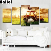 5D DIY Diamond Paintings 5pcs/set farm tractorFull Square Drill Embroidery Cross Stitch Mosaic cock Tractors Farm Wall D Decor