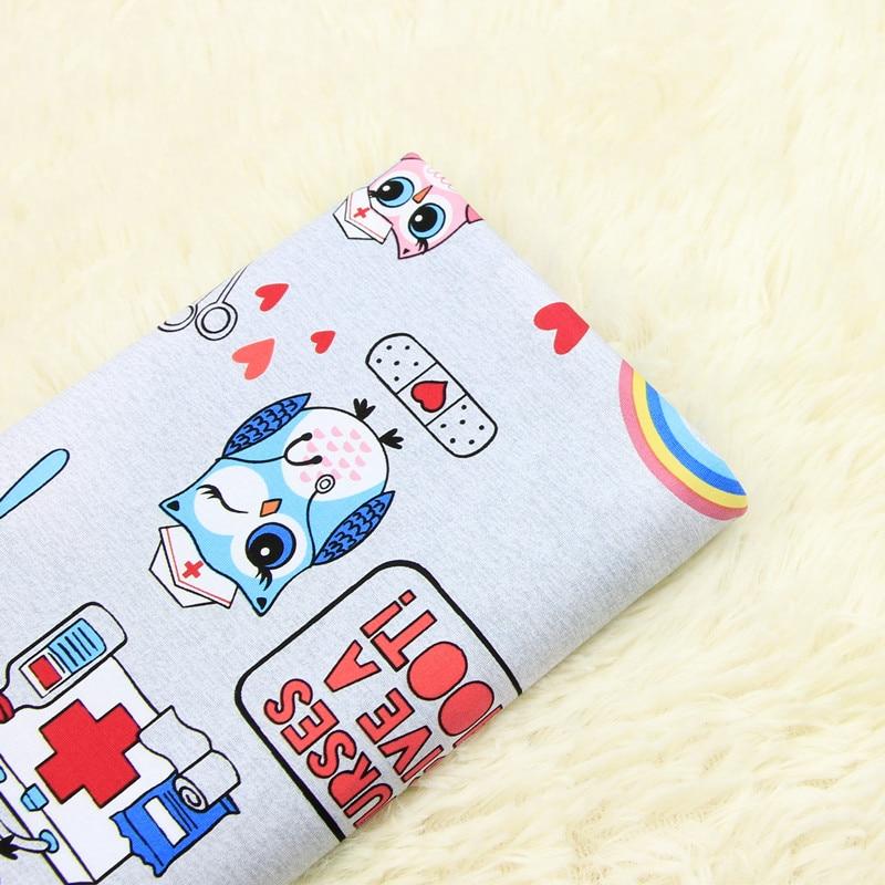 half meter elastic 100% cotton fabric with cute owl nurses print, garment dress cloth A611