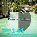 1.61 Índice Photochromic Transição Luz Solar Camaleão Miopia Hipermetropia Óculos Para Óculos de Prescrição Óptica Lente & 7 Revestimento