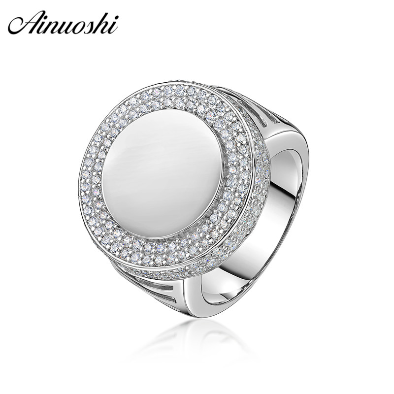 AINOUSHI 925 Sterling Silver Wedding Engagement Round Halo Rings Male Silver Anniversary Party Rings Gifts Jewelry pero llama usb flash drive 32gb oltramax 230 om 32gb 230 white