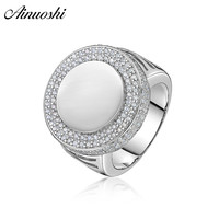 AINOUSHI 925 Sterling Silver Wedding Engagement Round Halo Rings Male Silver Anniversary Party Rings Gifts Jewelry pero llama
