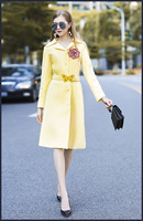 European Style Yellow Color Trench Coats New 2017 Autumn Fashion Woman S Dust Coat