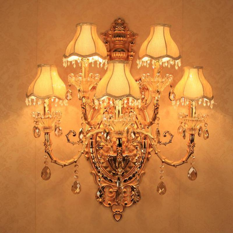 Us 265 0 Hotel 5 Lights Plated Gold Wall Sconces Crystal Lamp Large Modern Living Room Project Villa Ktv Led Fixture In
