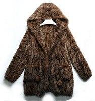 100% bất mink fur coat outwear shawl vest áo khoác lông chính hãng blazer dài sleeves cộng với kích thước 3xl 4xl 5xl 6xl Nâu Đen hoodie