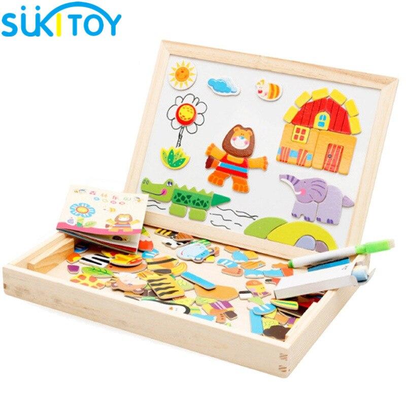 Puzzles en bois Pour Enfants Parc Forestier Multifonctionnel Magnétique Enfants Puzzle Planche à Dessin Jouets Éducatifs PZ001
