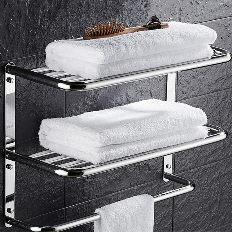 304 Stainless Steel Bathroom Shelf Cosmetic Racks Shapoo Bathroom Towel Shelf Hanger Shower Storage Racks Bathroom Set Bath Rack