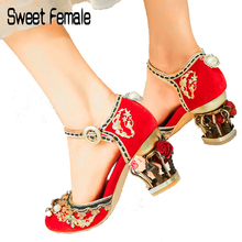 Sweet Female High heels C061 Women s large size Ethnic style Beaded  Embroidered Metal hollow flower heel 3b6bb5ce6314