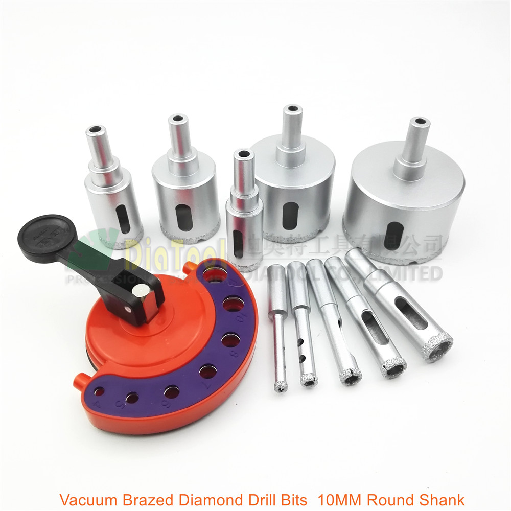 DIATOOL 4pcs Hex Vacuum Brazed wet diamond drill bits tile core bits and Positioner Sucker For marble masonry concrete ceramic SHANGHAI DIATOOL CO LTD.