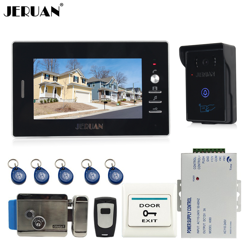 JERUAN NEW 7`` Video Intercom Entry Door Phone System 1monitor +700TVL Touch Key Waterproof RFID Access Camera + Electronic lock jeruan new 7 inch touch key color video intercom entry door phone system rfid access doorbell camera 1 monitor in stock