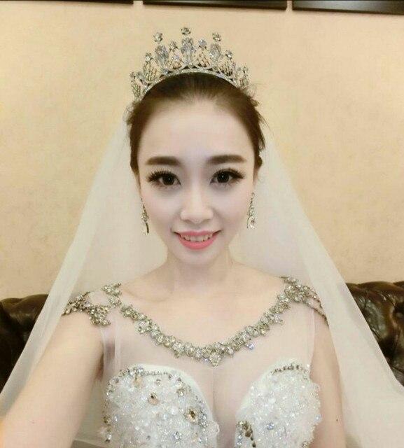 2016 Hot Nupcial do casamento Tiaras de cristal romantico para a princesa moda Crown para as mulheres carneiras Headpieces