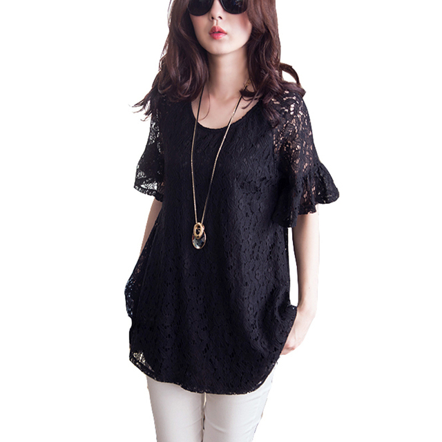 443431748b2 Blusas de renda summer style 2018 lace blouse vintage black short sleeve  plus size 5XL women shirts femal blouses tops XXXXXL