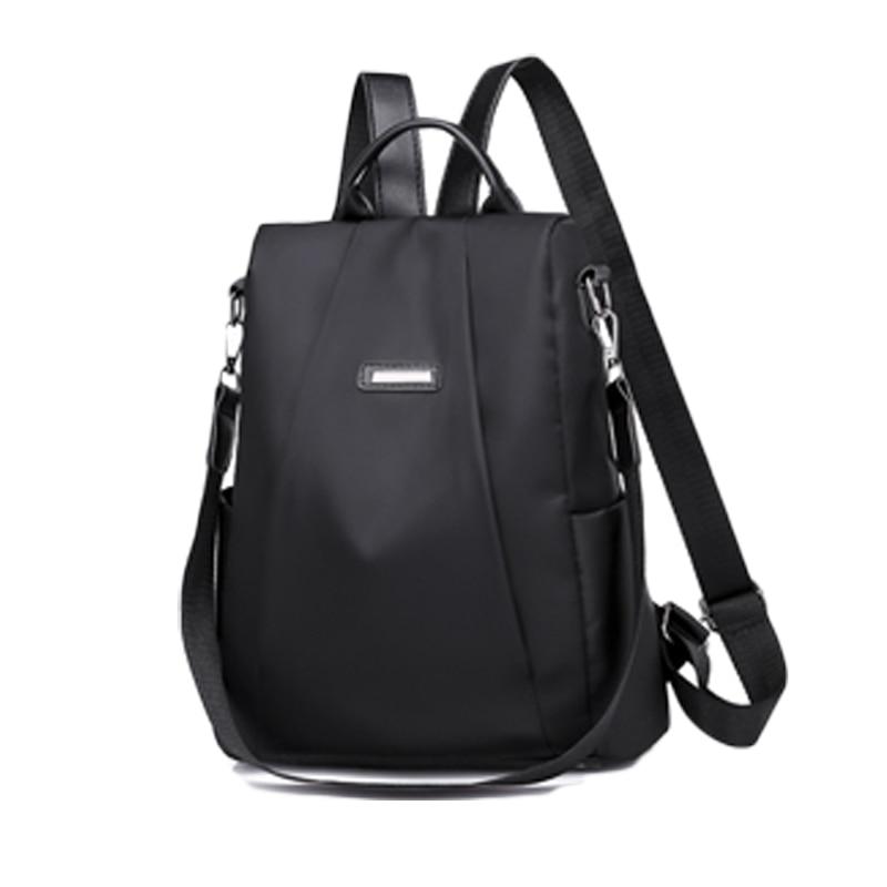Women Waterproof Solid Oxford Cloth Travel Backpack Nylon Anti-theft Shoulder Rucksack School Bags For Teenage Girls