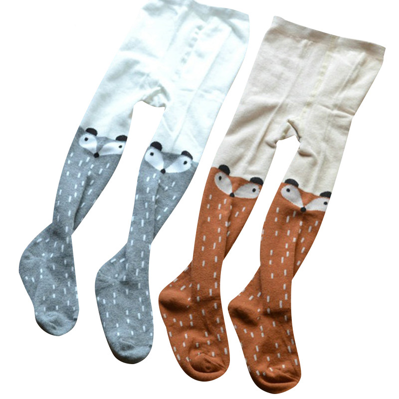 Kids Girls Baby Soft Pantyhose Tights Stockings Cartoon Fox Baby Girl Tights Cotton Cute Children Stocking For Kid rib knit tights