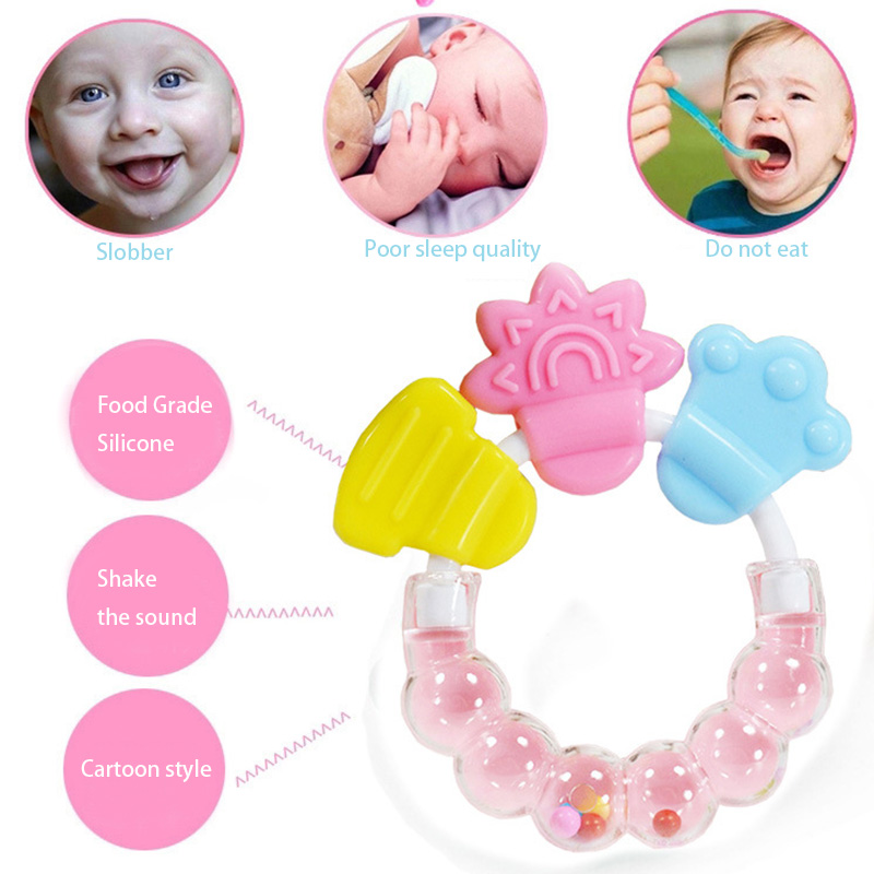 1 stk Baby Tethers Rattle Rings Silicone Massager Infant Training Tand Toddler Bell Toys De Silicone Perler