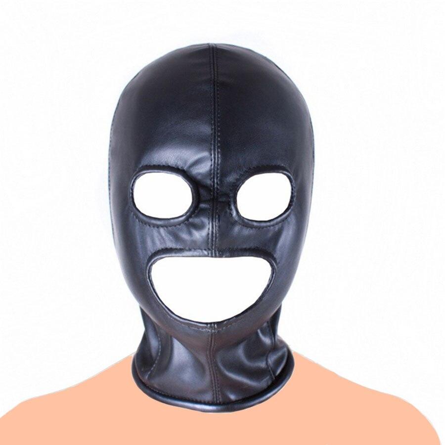 PU-Leather Head harness Cosplay Halloween hood mask headgear eye Open Zip up new