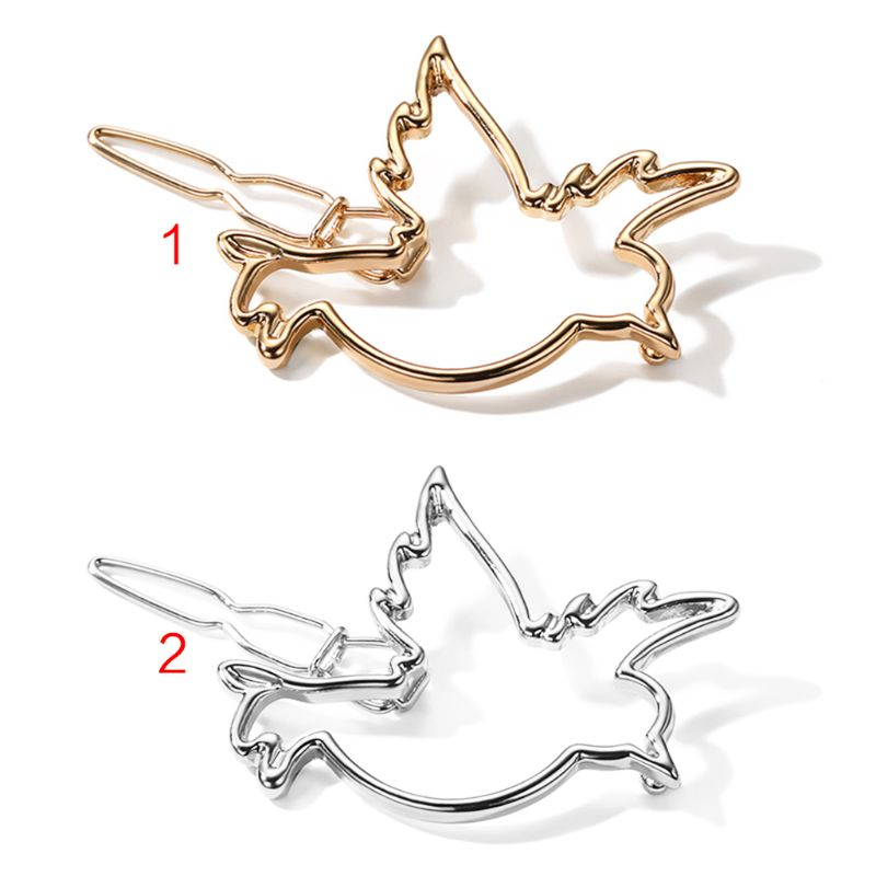 Minimalist Cute Hollow Out Flying Bird Shaped Hair Clips Women Girls Metallic Polished Ponytail Bobby Pins Side Bangs Glitter Pa